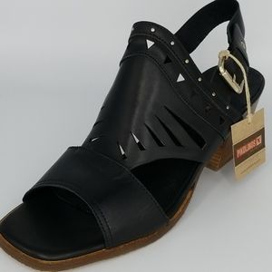 Pikolinos Black Leather Cut Out Wedge Sandal 41 11